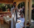Maria, Jozef en kindje Jezus in de kribbe levende