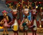 Groep van Kerstmis rendieren kerstviering