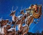 De magie rendieren trekken Kertsman slee op kerstnacht