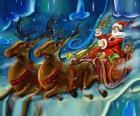 De slee vol cadeautjes vliegen met Santa Claus en de magie rendieren