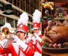 Viering van Dankzeggingsdag met de traditionele kalkoen en Pelgrims typische hoed. U. S. hield de vierde donderdag in november
