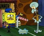 SpongeBob verkleed als een politieman een pass naar Octo Tentakels vraagt