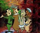 De protagonisten van de avonturen: Yogi Beer, Boo-Boo, Cindy en de parkwachter Smith