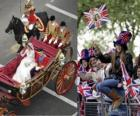 Britse Royal Wedding tussen prins William en Kate Middleton, wandelen in het vervoer door de burgers acalamados