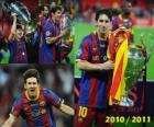 Leo Messi het vieren van de Champions League 2010-2011
