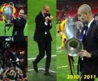 Josep Guardiola het vieren van de Champions League 2010-2011
