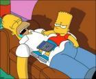 Bart zit op de buik van Homer