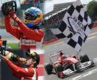 Fernando Alonso viert zijn overwinning in de Grand Prix van Groot-Brittannië (2011)