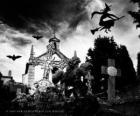 Begraafplaats op de dag van Halloween