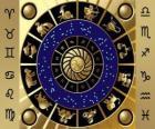 De twaalf tekens van de dierenriem, de dierenriem wiel of cirkel van de Dierenriem