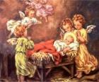 Een aantal engelen met kindje Jezus