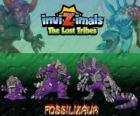 Fossilizaur, laatste evolutie. Invizimals The Lost Tribes. Invizimal die woont in grotten en te overleven kunt huidskleur op wil wijzigen