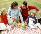 Picknick op het platteland aan de natuur en genieten van het eten