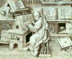 Kopiist monnik werken als met pen en inkt op perkament of papier in het scriptorium