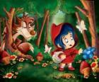 Roodkapje in het bos met de Wolf verborgen tussen de bomen