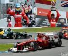 Fernando Alonso viert zijn overwinning in de Grand Prix van Duitsland 2012
