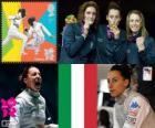 Vrouwen individueel floret podium, Elisa Di Francisca (Italië), Arianna Errigo (Italië) en Valentina Vezzali (Italië) - Londen 2012-