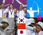Podium vrouwen boogschieten team, in het zuiden, Korea, China en Japan - Londen 2012 -