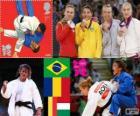 Podium Judo vrouwen - 48 kg, Sarah Menezes (Brazilië), Alina Dumitru (Roemenië), Charline Van Snick (België) en Eva Csernoviczki (Hongarije) - Londen 2012 -