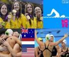 Zwemmen, vrouwen 4 x 100 meter vrije stijl estafette, Australië, Verenigde Staten en Nederland - Londen 2012 - podium