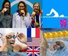 Zwemmen vrouwen 400 m vrije stijl podium, Camille Muffat (Frankrijk), Allison Schmitt (Verenigde Staten) en Rebecca Adlington (Verenigd Koninkrijk) - Londen 2012 -