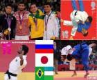 Judo mannen - 60 kg podium, Arsen Galstian (Rusland), Hiroaki Hiraoka (Japan) en Philip Kitadai (Brazilië), (Oezbekistan) - Londen 2012 - Rishod Sobirov