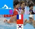 Zwemmen, mannen 200 meter vrije stijl podium, Yannick Agnel (Frankrijk), Sun Yang (China) en Park Tae-Hwan (Zuid Korea) - Londen 2012-