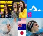 Zwemmen vrouwen 100 meter rugslag podium, Missy Franklin (Verenigde Staten), Emily Seebohm (Australië) en Aya Terakawa (Japan) - Londen 2012-