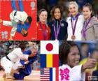 Podium vrouwelijke Judo - 57 kg, Kaori Matsumoto (Japan), Corina Căprioriu (Roemenië) en Marti Malloy (Verenigde Staten), Automne Pavia (Frankrijk) - Londen 2012-