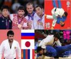 Judo mannen - 73 kg podium, Mansur Isajev (Rusland), Riki Nakaya (Japan), en Nyam-Ochir Sainjargal (Mongolië), Legrand Ugo (Frankrijk) - Londen 2012-