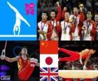 Turnen-Mannen Team meerkamp podium, China, Japan en Verenigd Koninkrijk - Londen 2012-