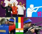 Schieten mannen 10 meter luchtgeweer podium, Alin George Moldoveanu (Roemenië), Niccolo Campriani (Italië) en Gagan Narang (India) - Londen 2012-