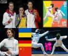 Podium schermen vrouwen individueel degen, Yana Shemiakina (Oekraïne), Britta Heidemann (Duitsland) en Sun Yujie (China) - Londen 2012-