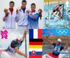 Podium mannen, C1 slalom Kanovaren, Tony Estanguet (Frankrijk), Sideris Tasiadis (Duitsland) en Michal Martikán (Slowakije) - Londen 2012-