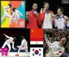 Podium schermen mannen individueel floret, Lei Sheng (China), Abuelkasem Alaaeldi (Egypte) en Choi Byung-Chul (Zuid Korea) - Londen 2012-