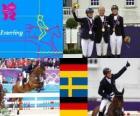Podium Paardensport individueel eventing, Michael Jung (Duitsland), Sara Algotsson Ostholt (Zweden) en Sandra Auffahrt (Duitsland) - Londen 2012-