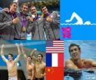 Zwemmen, mannen 4 × 200 meter vrije stijl estafette podium, Verenigde Staten, Frankrijk en China - Londen 2012-