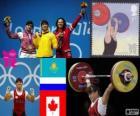 Vrouwen 63 kg Gewichtheffen podium, Maiya Maneza (Kazachstan), Svetlana Tsarukayeva (Rusland) en Christine Girard (Canada) - Londen 2012-