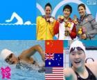 Podium 200 m individuele vrouwen zwemmen gecombineerd, Shiwen gij (China), Alicia Coutts (Australië) en Caitlin Leverenz (Verenigde Staten) - Londen 2012-