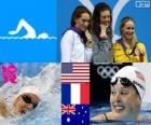 Podium 200 meter zwemmen stijl gratis vrouwelijk, Allison Schmitt (Verenigde Staten), Camille Muffat (Frankrijk) en Bronte Barratt (Australië) - Londen 2012-