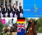 Podium Paardensport eventing team, Duitsland, Verenigd Koninkrijk en Nieuw-Zeeland - Londen 2012-