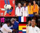 Podium vrouwelijke Judo - 70 kg, Lucie Decosse (Frankrijk), Kerstin Thiele (Duitsland) en Yuri Alvear (Colombia), Edith Bosch (Nederland) - Londen 2012-