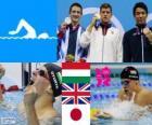 Podium 200 meter schoolslag stijl mannen, Daniel Gyurta (Hongarije), Michael Jamieson (Verenigd Koninkrijk) en Ryo Tateishi (Japan) - Londen 2012 - zwemmen