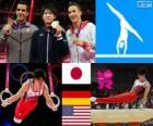 Turnen-Mannen artistieke individuele meerkamp podium, Kohei Uchimura (Japan), Marcel Nguyen (Duitsland) en Danell Leyva (Verenigde Staten) - Londen 2012-