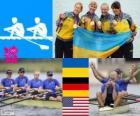 Podium roeien vrouwen quadruple skiff, Oekraïne, Duitsland en de Verenigde Staten - Londen 2012-