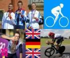Mannen weg tijd proces fietsen podium, Bradley Wiggins (Verenigd Koninkrijk), Tony Martin (Duitsland) en Christopher Froome (Verenigd Koninkrijk) - Londen 2012-
