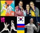 Podium schermen vrouwen individueel sabel, Kim Ji-Yeon (Zuid-Korea), Sofia Velikaja (Rusland) en Olga Jarlan (Oekraïne) - Londen 2012-