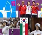 Podium boogschieten individuele vrouwelijk, Bo-Bae Ki (Zuid-Korea), Aida Román en Mariana Avitia (Mexico) - Londen 2012-