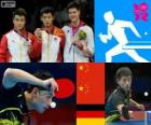 Podium Tafeltennis mannen individueel, Zhang Jike, Wang Hao (China) en Dimitrij Ovtcharov (Duitsland) - Londen 2012-