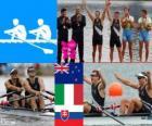 Podium roeien mannen dubbel-twee, Nathan Cohen, Joseph Sullivan (Nieuw-Zeeland), Alessio Sartori, Roman Battisti (Italië) en Luka Špik Iztok Čop (Slovenië) - Londen 2012-